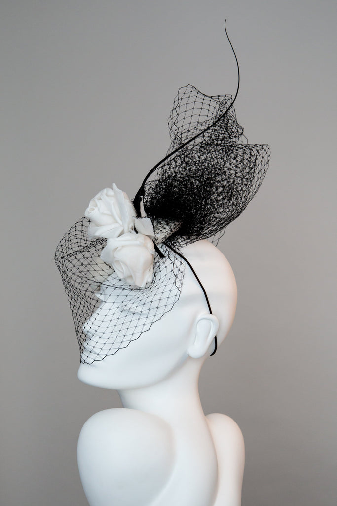 Felt Cocktail Hat with Silk Rose and Veil - Selene - Maggie Mowbray Millinery