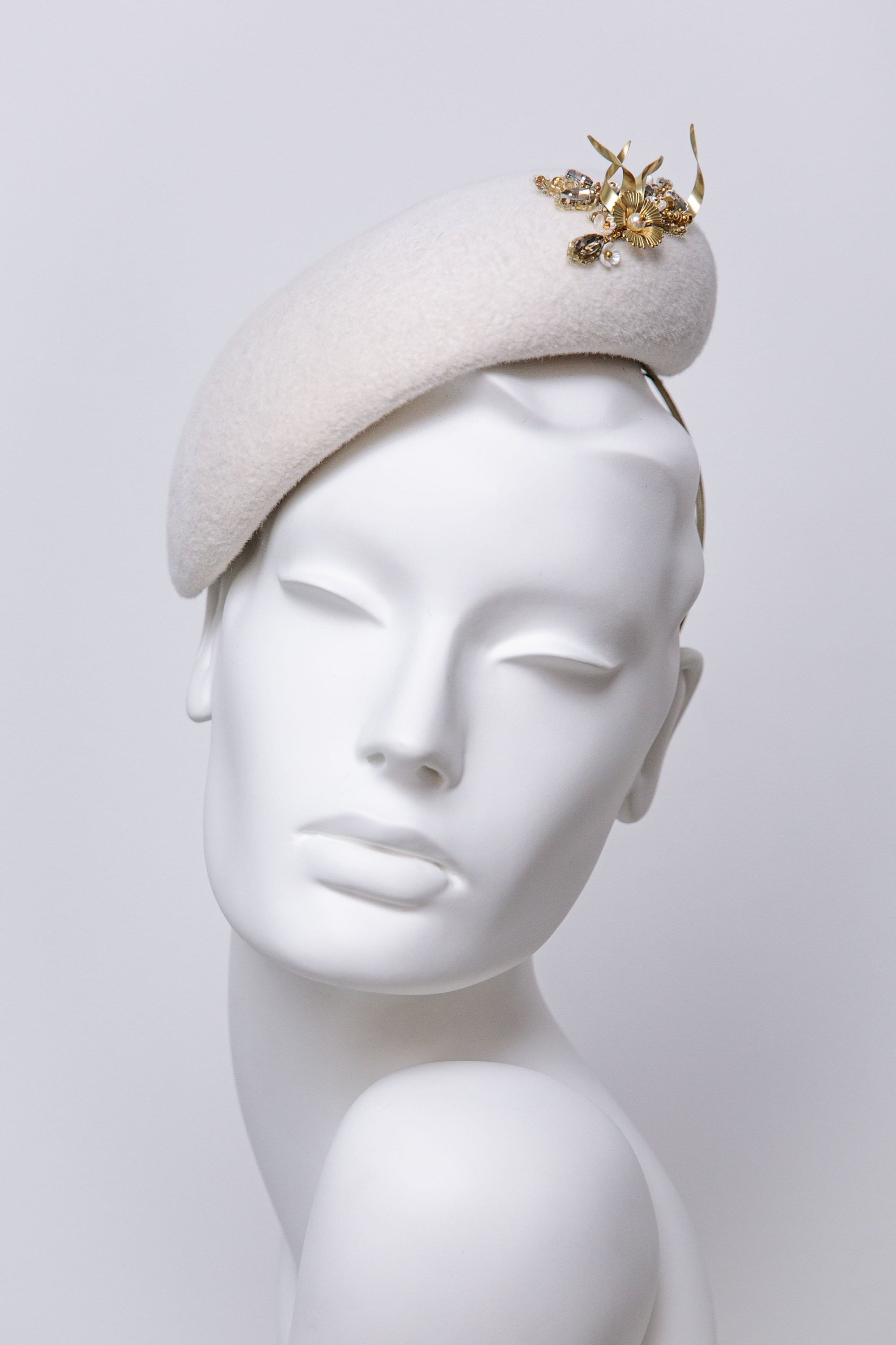 Bridal Perch Hat - Lila - Maggie Mowbray Millinery