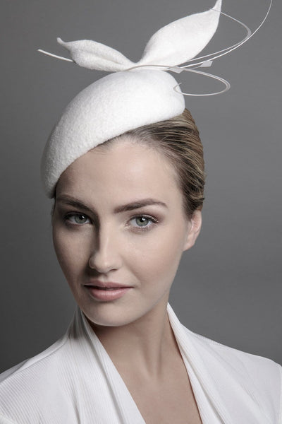 Wedding Hat with Feather detail - Maggie Mowbray Millinery