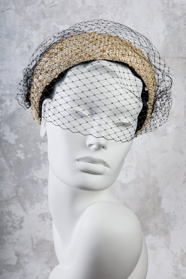 Straw Pillbox Hat with Veiling - Sophie - Maggie Mowbray Millinery