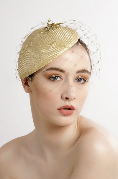 Beaded Straw Percher Hat with Veil - Darcey - Maggie Mowbray Millinery.  hat for women, Ascot hat, dramatic hat, elegant hat for the races, hat for ascot, high fashion hat, editorial hats, hats to stand out, hat ideas for special occasions, fashion for ladies day, fashion fascinator.