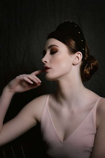 Halo Headpiece with Gold Beading - Maggie Mowbray Millinery