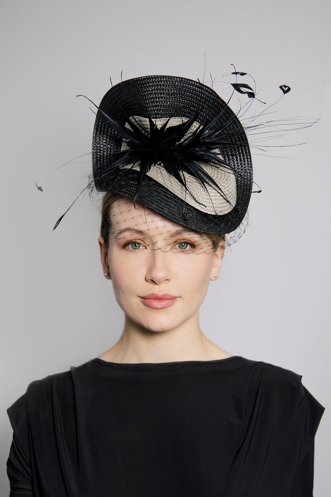 Cocktail Hat with Feather Detail - Rosa - Maggie Mowbray Millinery