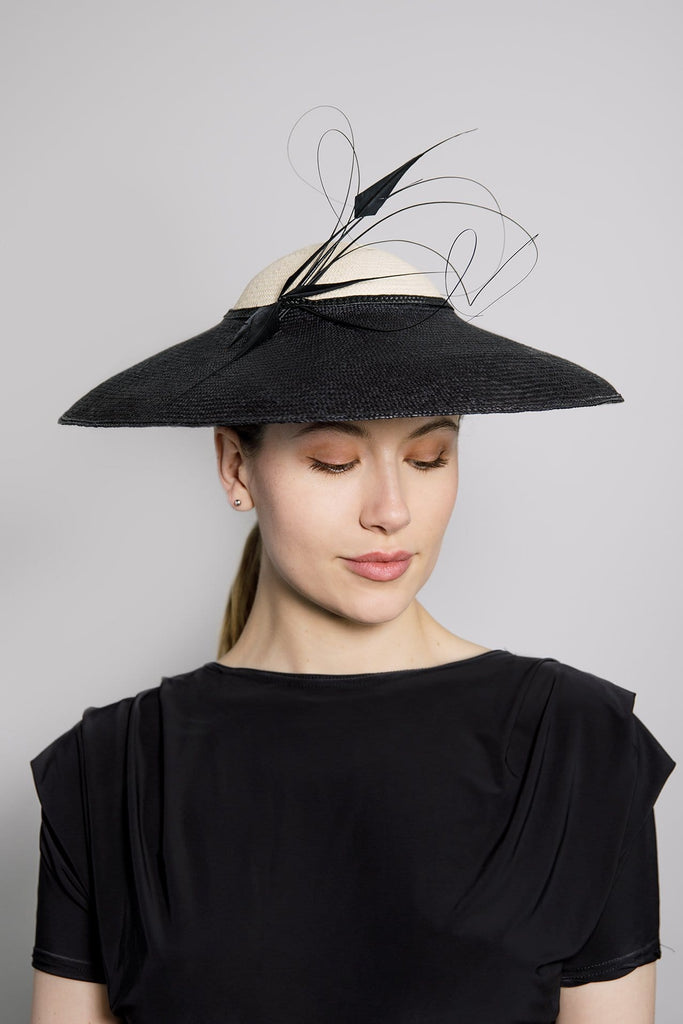 Large Brim Hat with feather Detail - Skye - Maggie Mowbray Millinery