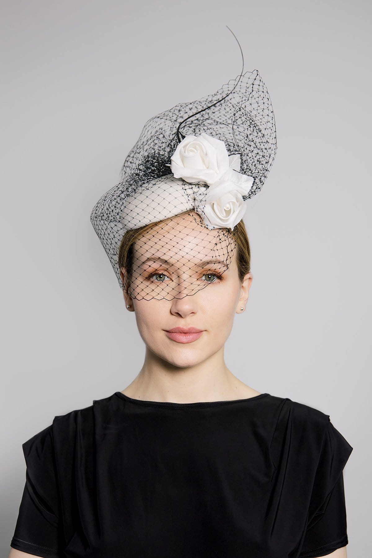 Felt Cocktail Hat with Silk Rose and Veil - Selene