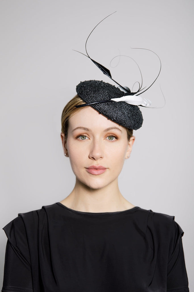 Cocktail Hat with Feather Detail - Astrid - Maggie Mowbray Millinery