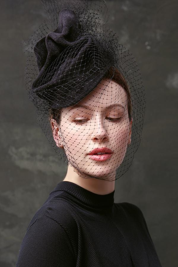 Twisted Percher With Veil - Giovanna - Maggie Mowbray Millinery