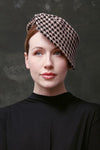 Winter hat, women's felt hat, houndstooth hat, hat boutique, hat shop Edinburgh, online hat shop, cloche hats, made to measure hats, hats made to my measurements, fashionable hats, hats for face shape, hat with angled brim, chic hats, millinery, lovely winter hats, quality winter hats, hats for women, custom made hats, hats to cover head, dogtooth check pattern hat, hats made in the UK, buy hats online, best hats for winter, best hats for style, buy luxury hats, hat makers Edinburgh.