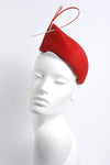 Feather quill hat in red and silver by Maggie Mowbray Millinery
