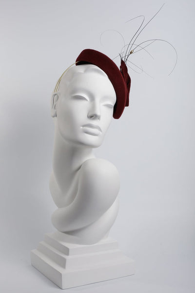 Feathered Calotte Beret 'Beatriz' - Maggie Mowbray Millinery