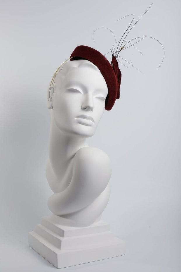 Feathered Calotte Beret - Maggie Mowbray Millinery