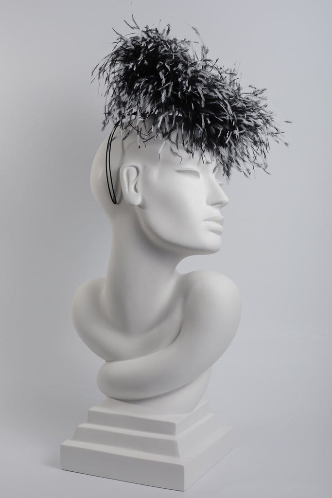 Feathered Occasion Hat 'Franchon' - Maggie Mowbray Millinery