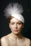 Wedding Hat with Veiling - Zigi - Maggie Mowbray Millinery
