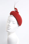 Red Calotte with Feather detail 'Valdis' - Maggie Mowbray Millinery