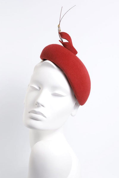 red calotte hat by Maggie Mowbray Millinery, Edinburgh