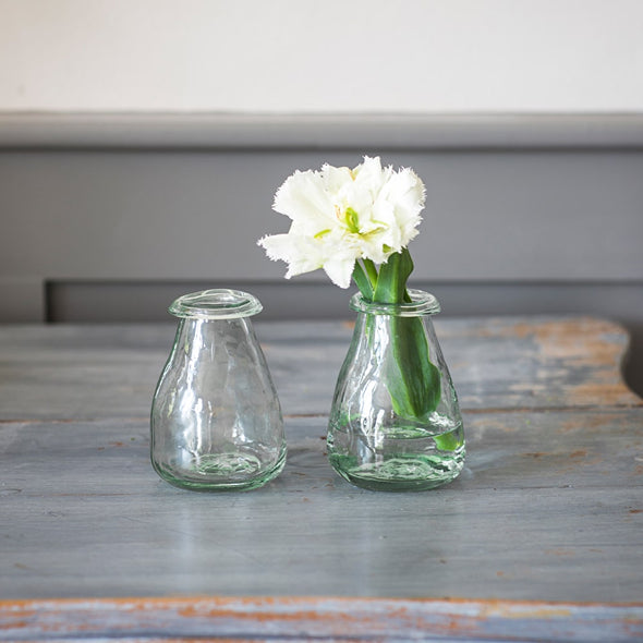 Set of 2 Recycled Glass Bud Vases