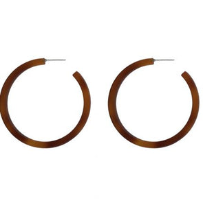 Tortoiseshell Resin Hoop Earrings