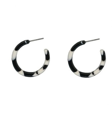 Resin Tiny Hoop Earrings Black And White