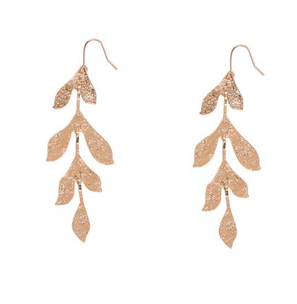 Long Textured Leaf Earrings Rose Gold