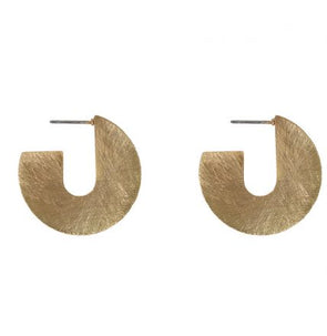 Scratched Metal Abstract Earrings Gold