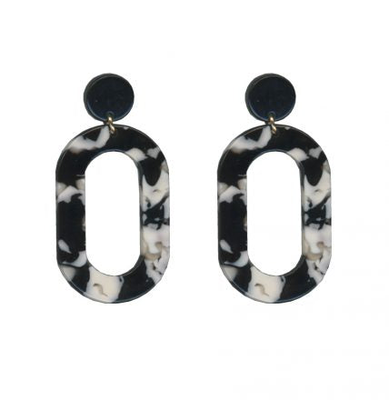 Loop Drop Resin Earrings Black And White