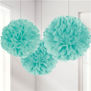 Mint Green Paper Pom Pom Set of 3