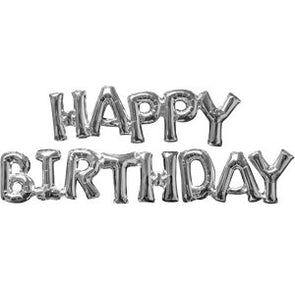 Happy Birthday Air Filled Phrase Balloons Silver