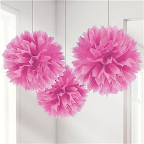 Pink Paper Pom Pom Set of 3
