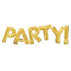 Party Air Filled Phrase Balloon Gold