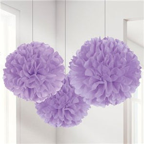 Lilac Paper Pom Pom Set of 3
