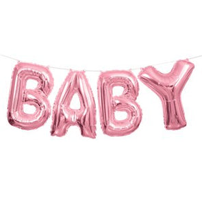 Baby Air Filled Balloon Banner Kit Pink