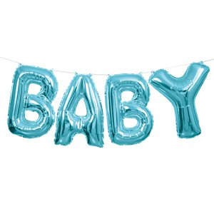 Baby Air Filled Balloon Banner Kit Blue