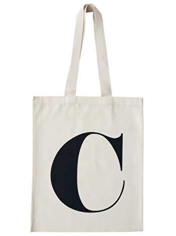 Initial Cotton Tote Bag 'C'