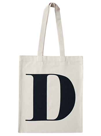 Initial Cotton Tote Bag 'D'