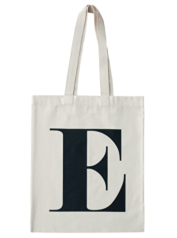 Initial Cotton Tote Bag 'E'