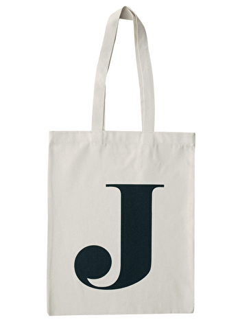 Initial Cotton Tote Bag 'J'