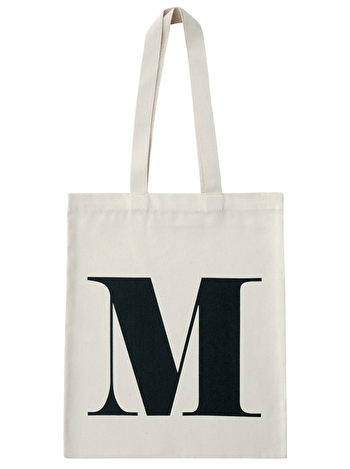 Initial Cotton Tote Bag 'M'