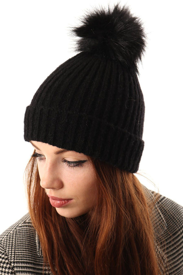 Black Knit Faux Fur Pom Pom Hat