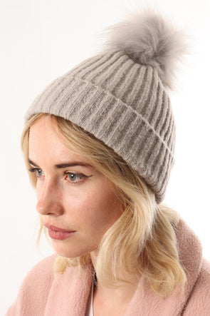 Pale Grey Knit Faux Fur Pom Pom Hat