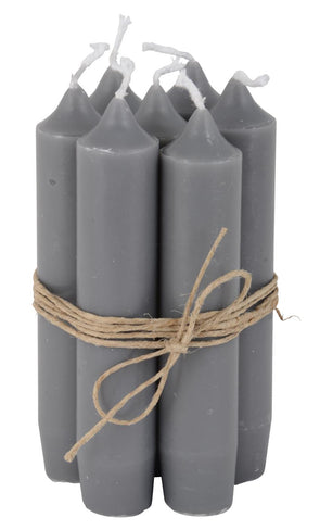 Dark Grey Short Dinner Candle Set Of 7