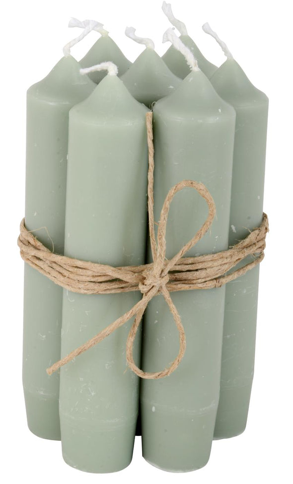 Dusty Green Short Dinner Candle Set Of 7