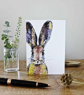 Coloured Hare Note Card