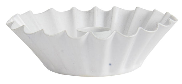 White Metal Fluted Candle Holder