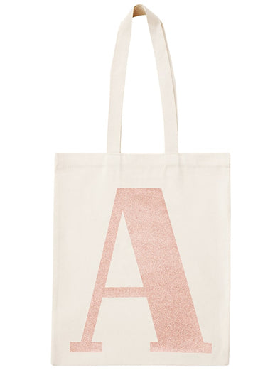 Rose Gold Initial Cotton Tote Bag 'A'