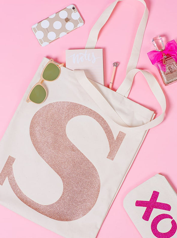 Rose Gold Initial Cotton Tote Bag 'R'