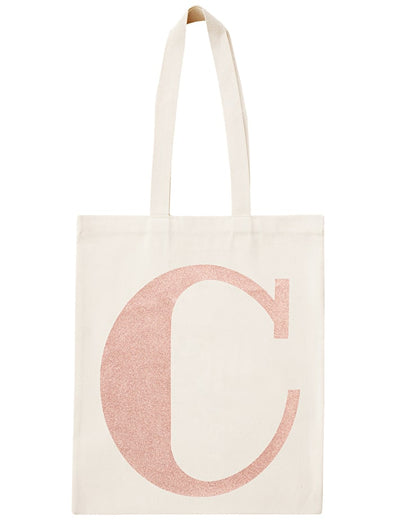Rose Gold Initial Cotton Tote Bag 'C'