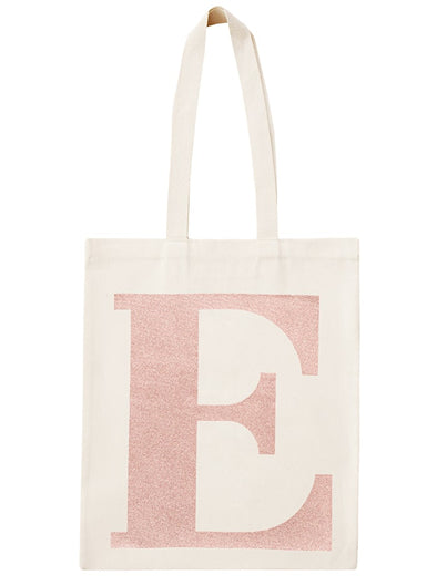 Rose Gold Initial Cotton Tote Bag 'E'