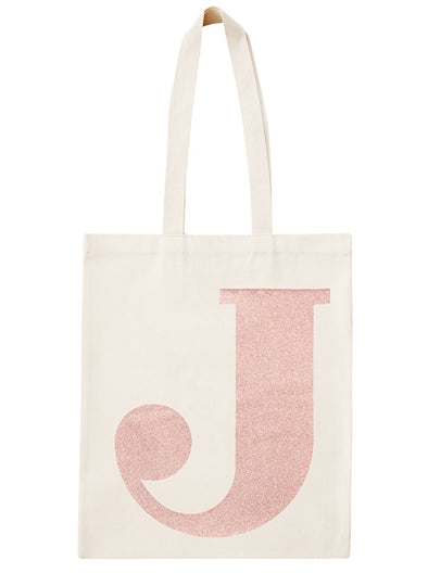 Rose Gold Initial Cotton Tote Bag 'J'
