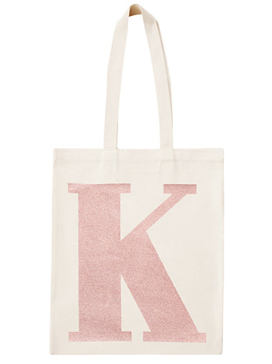 Rose Gold Initial Cotton Tote Bag 'K'