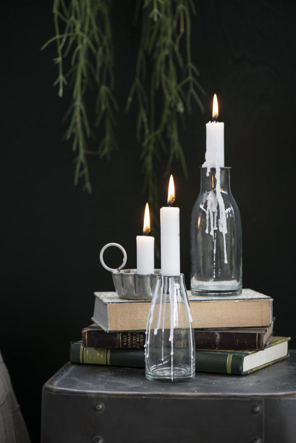 Grey Wavy Edge Metal Candle Holder